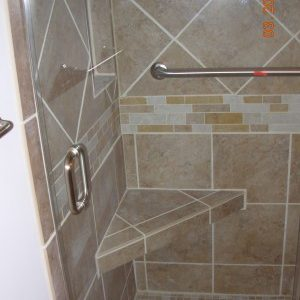 Tiled and Glass Shower with Bench