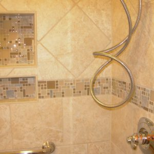New Shower with Mosaic Accents